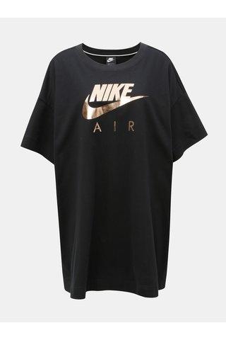 Tricou negru oversized lung cu print Nike