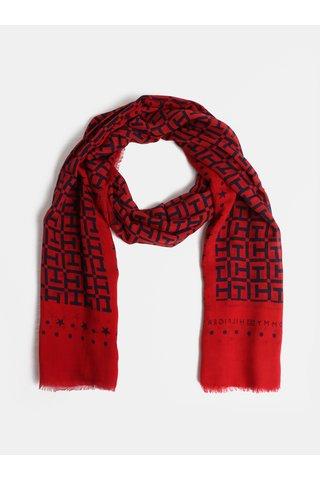 Modro-červená dámský šátek Tommy Hilfiger Monogram