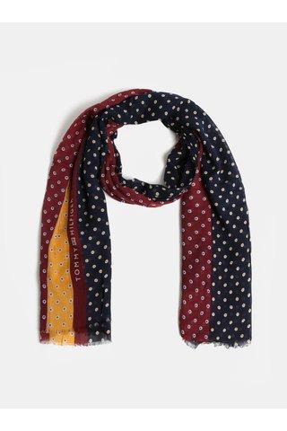 Modro-vínový dámský vzorovaný šátek Tommy Hilfiger Micro