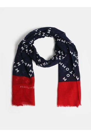 Červeno-modrý vzorovaný šátek Tommy Hilfiger Corporate