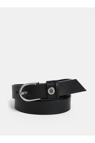 Černý dámský kožený pásek s logem Tommy Hilfiger
