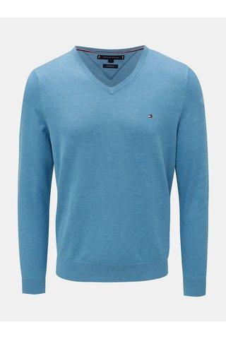 Modrý pánský žíhaný lehký svetr Tommy Hilfiger Silk