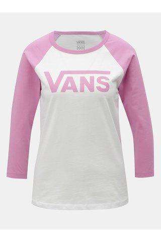 Tricou de dama roz-alb cu print VANS
