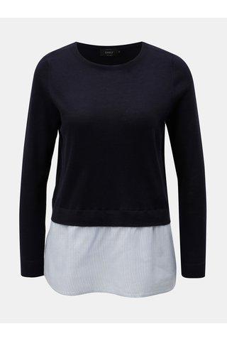 Top tricotat albastru inchis cu bluza cusuta ONLY New