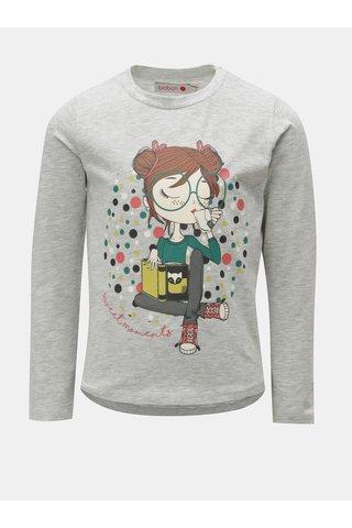 Světle šedé holčičí žíhané tričko s potiskem BÓBOLI