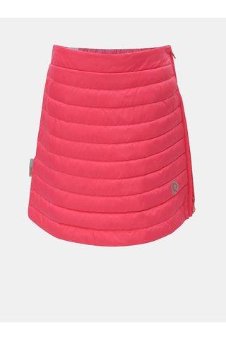 Růžová neonová prošívaná funkční péřová sukně na zip Reima Floora