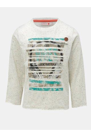 Krémové klučičí žíhané tričko s potiskem BÓBOLI