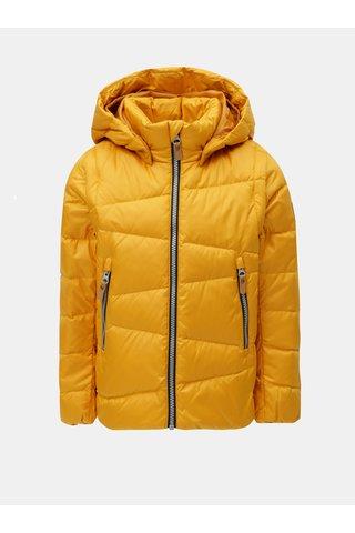 Hořčicová dětská funkční péřová vesta/bunda s odnímatelnými rukávy a kapucí na patentky Reima Martii
