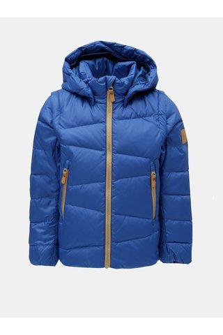 Modrá dětská funkční péřová vesta/bunda s odnímatelnými rukávy a kapucí na patentky Reima Martii
