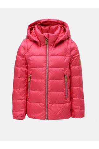 Růžová neonová holčičí funkční péřová vesta/bunda s odnímatelnými rukávy a kapucí na patentky Reima Martii