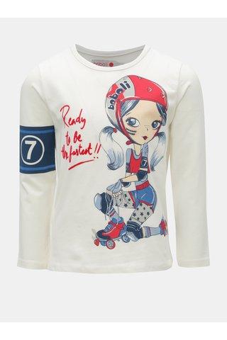 Krémové holčičí tričko s potiskem bruslařky BÓBOLI