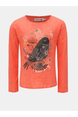 Červené holčičí tričko s potiskem květin a ptáčka BÓBOLI