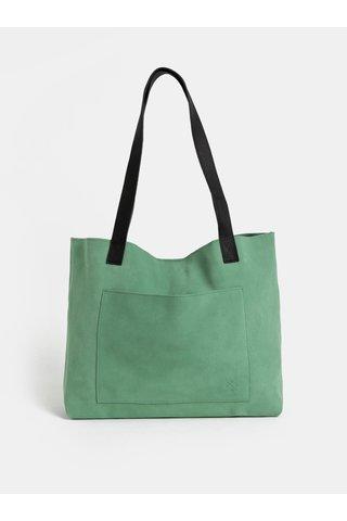 Geanta shopper verde deschis din piele intoarsa WOOX