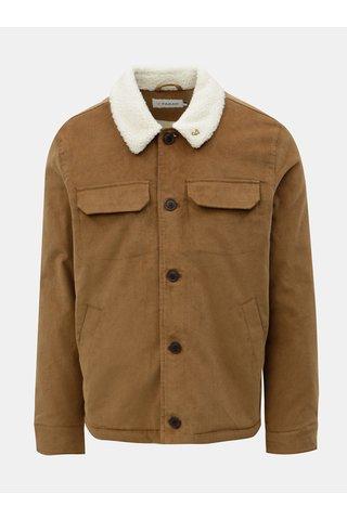 Jacheta barbateasca maro cu blana artificiala Farah