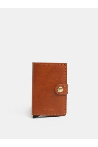 Hnědá pánská kožená peněženka s hliníkovým pouzdrem s RFID Secrid Miniwallet