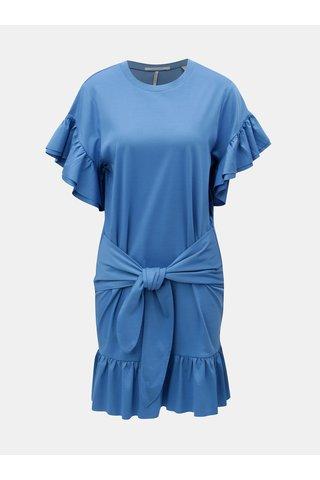 Rochie albastra cu volane si snur in talie Scotch & Soda