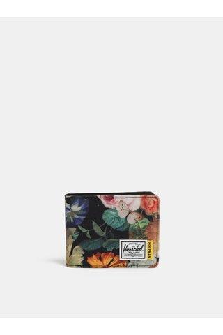 Portofel negru cu model floral Herschel Roy RFID