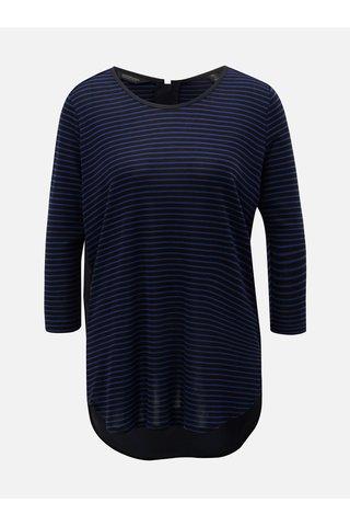 Tricou albastru-negru in dungi cu spate mai lung Scotch & Soda