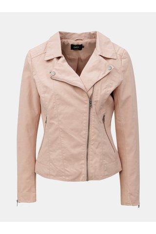 Jacheta biker roz din piele sintetica ONLY Saga