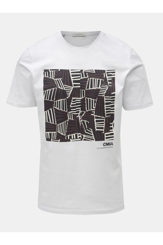 Tricou alb cu print Selected Homme Grace