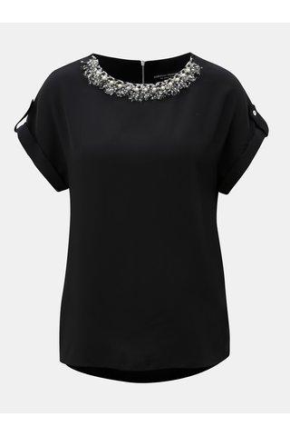 Černá halenka s ozdobou u krku Dorothy Perkins