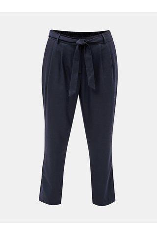 Pantaloni crop albastru inchis cu amestec de lana Selected Femme Bio