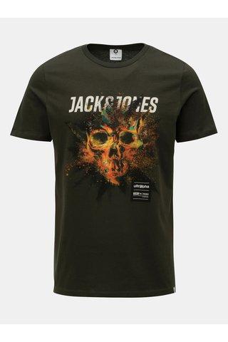 Tricou verde inchis cu print Jack & Jones Rico
