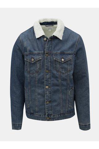 Jacheta albastra din denim cu blana artificiala ONLY & SONS Louis