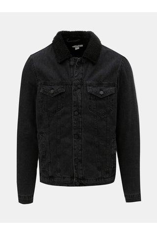 Jacheta neagra din denim cu blana artificiala ONLY & SONS Louis