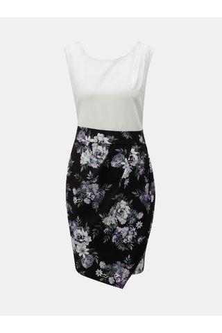Rochie alb-negru florala cu snur Apricot