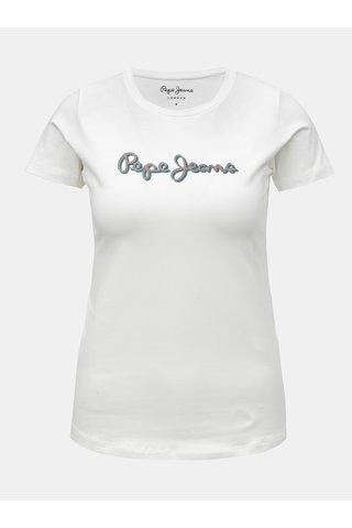 Bílé dámské tričko s třpytivým potiskem Pepe Jeans