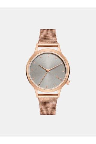 Dámské hodinky v růžovozlaté barvě s ciferníkem ve stříbrné barvě Komono Lexi Royale