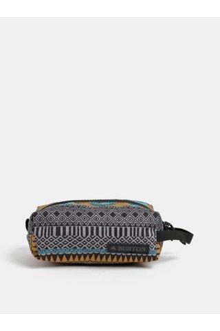 Šedý vzorovaný penál s koženkovou nášivkou Burton 1 l