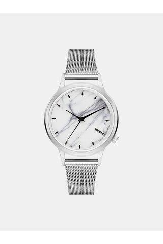 Dámské hodinky s páskem ve stříbrné barvě a mramorovaným ciferníkem Komono Silver White Marble