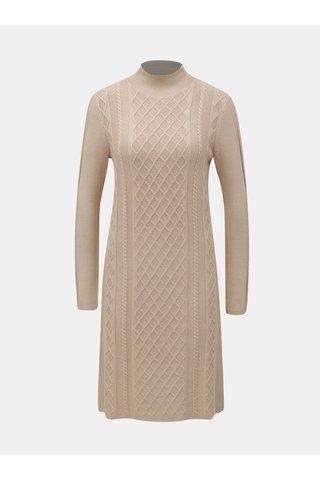 Béžové svetrové šaty se stojáčkem Yest