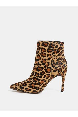Botine maro din piele naturala cu model de leopard ALDO