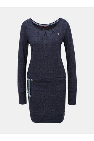 Rochie albastru inchis melanj cu maneci lungi si snur in talie Ragwear Alexa
