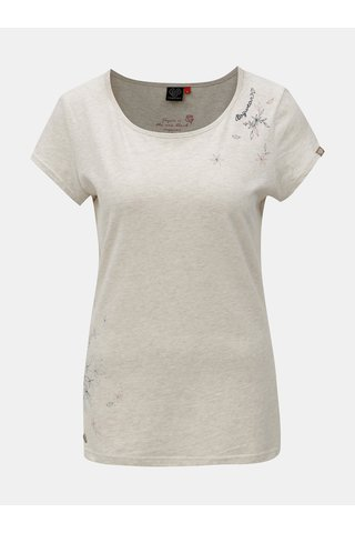 Tricou de dama gri melanj cu imprimeu Ragwear