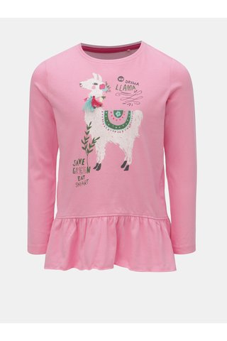 Růžové holčičí tričko s potiskem lamy Blue Seven