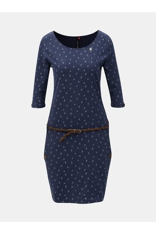 Rochie albastra cu model, buzunare si maneci 3/4 Ragwear