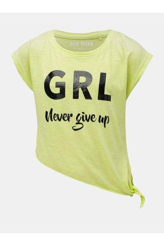 Neonové zelené holčičí asymetrické tričko Blue Seven