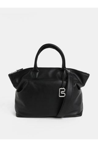 Černá velká kožená kabelka do ruky BREE Stockholm 37