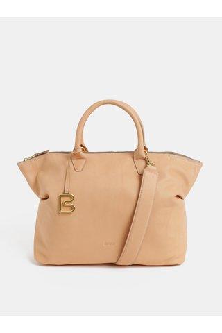 Béžová velká kožená kabelka do ruky BREE Stockholm