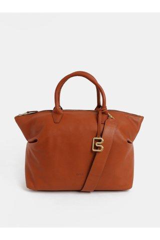 Hnědá velká kožená kabelka do ruky BREE Stockholm