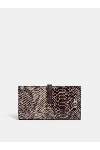 Hnědá kožená vzorovaná peněženka BREE Issy