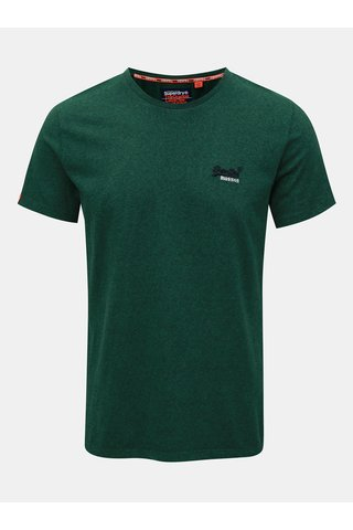 Tricou barbatesc verde melanj cu broderie Superdry