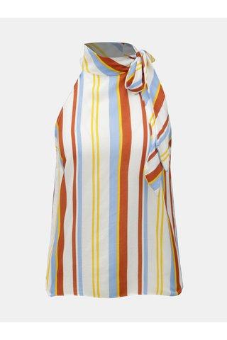 Bluza maro-alb in dungi cu snur Miss Selfridge