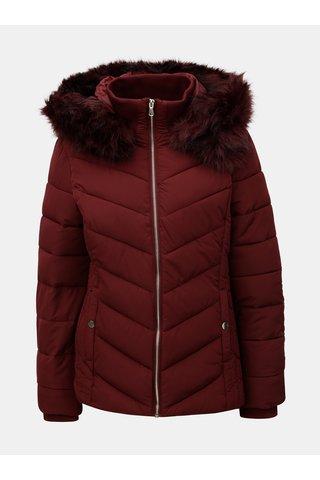 Jacheta de iarna bordo matlasata cu blana artificiala detasabila Miss Selfridge