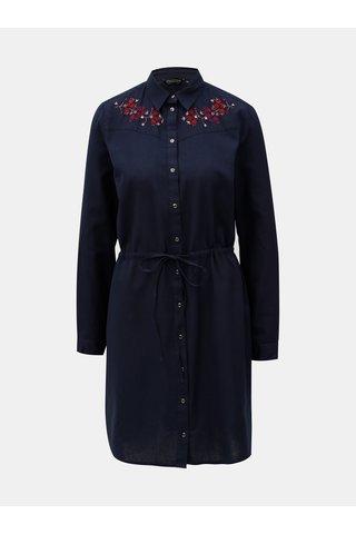 Rochie tunica albastru inchis cu broderie florala Dorothy Perkins