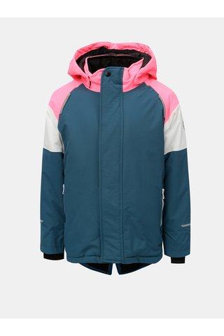 Růžovo-petrolejová holčičí zimní funkční bunda s kapucí Name it Snow